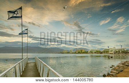 Morning view on the gulf of Aqaba from the central beach of Eilat - famous resort and recreational city in Israel