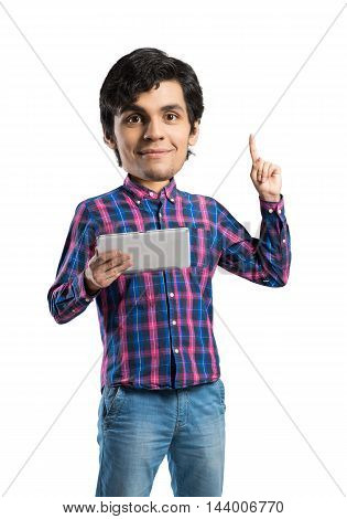 Funny bigheaded student with tablet in hands pointing with finger up isolated on white