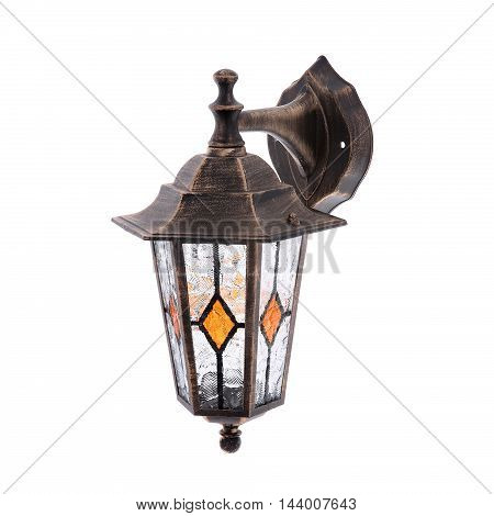 Old wall street lamp isolated on a white