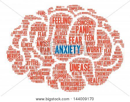 Anxiety word cloud on a white background. poster