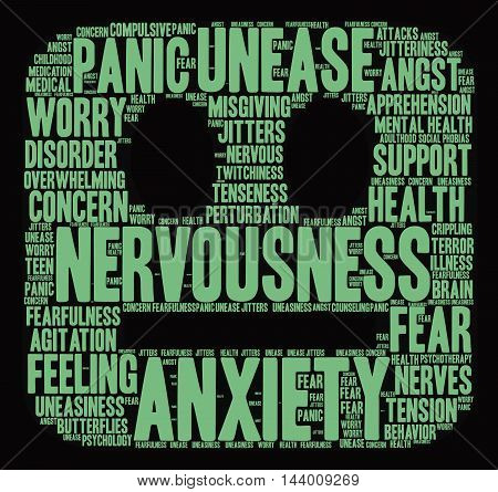 Anxiety word cloud on a black background. poster