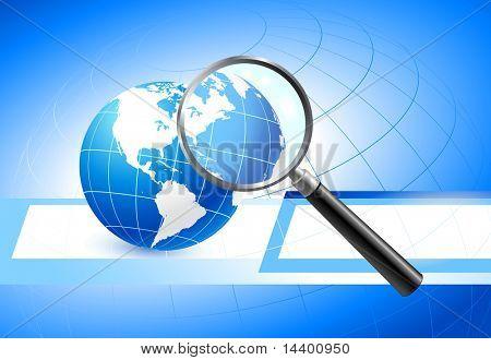Globe with Magnifying Glass Original Illustration
