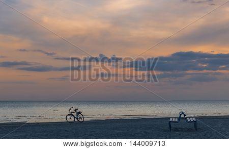 Coastal landscape at the famous International resort of Jurmala, Latvia. The photo was taken after sunset