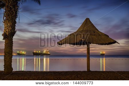 Romantic view on the central public beach in Eilat - famous resort city in Eilat