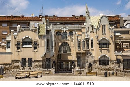 GIRONA SPAIN - JULY 6 2016: Architecture in the city center of Girona Catalonia Spain