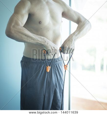 Man Exercising Nude Torso