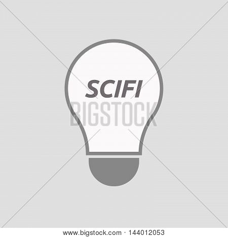 Isolated Line Art Light Bulb Icon With    The Text Scifi