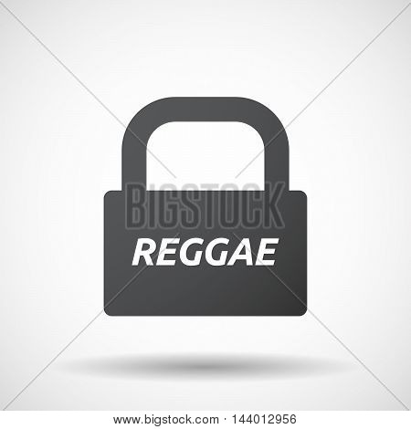 Isolated Closed Lock Pad Icon With    The Text Reggae