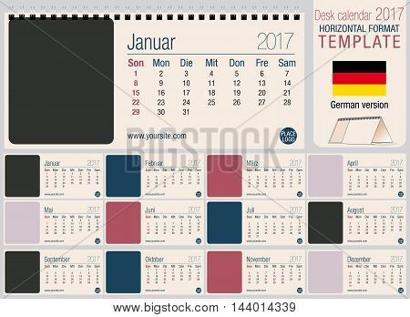 Useful desk triangle calendar 2017 template, ready for printing. Size: 220mm x 100mm. Format horizontal. German version