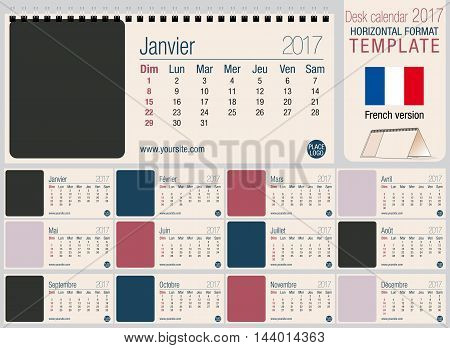Useful desk triangle calendar 2017 template, ready for printing. Size: 220mm x 100mm. Format horizontal. French version