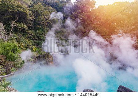 Hot Spring  (hell) Blue Water In Umi-zigoku In Beppu Oita, Japan