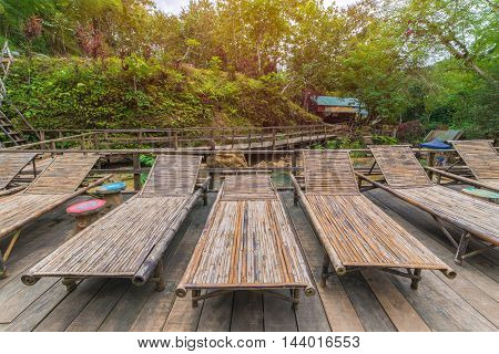 Bamboo Wooden Sunbeds In Tad Sae Waterfalls At Luang Prabang, Laos