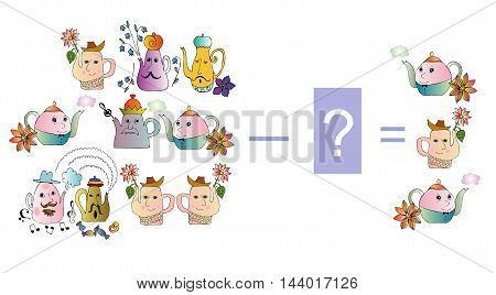 Educational game for children. Cartoon illustration of mathematical subtraction. Examples with teapot. Colorful vector illustration.