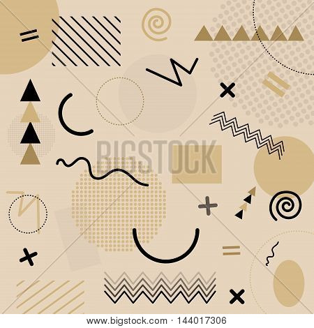 Beige Abstract Geometric Chaotic Pattern. Memphis Style. Use For Fashion, Cards, Posters, Presentati