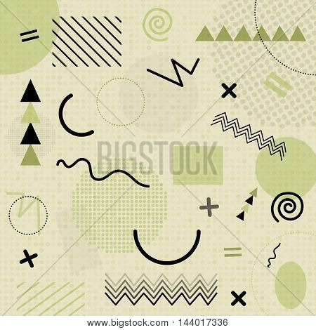 Green Abstract Geometric Chaotic Pattern. Memphis Style. Use For Fashion, Cards, Posters, Presentati