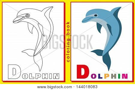 children's coloring book with letters and words. the letter D. Dolphin. vector image.
