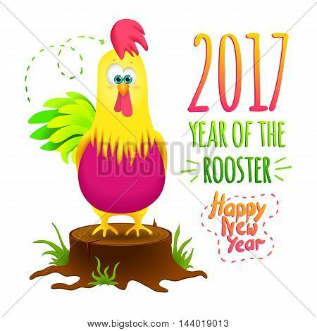 Christmas card with funny cartoon rooster on a black background. Cock symbol 2017 with New Year's inscriptions