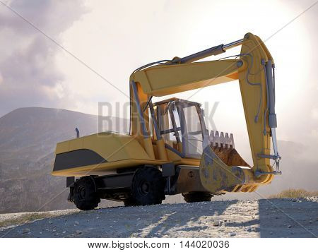 Large heavy duty yellow excavator parked on a mountain track against the skyline with a bright high key sun flare. 3d Rendering.