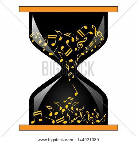 An illustration of a musical clock as a symbol of time for music.