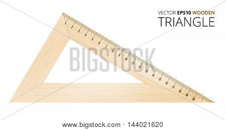 Wooden triangle with metric mm grade. Vector objects