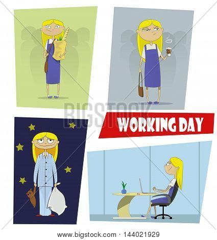 Four fun cartoon illustrations of the working day of a young girl. She did not sleep in the morning but going to work with coffee working on the computer in the office than she goes home and goes to bed. Vector illustration