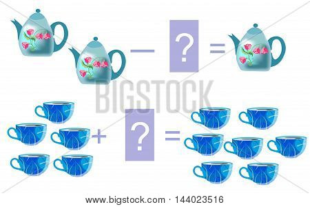 Educational game for children. Cartoon illustration of mathematical addition and subtraction. Examples with cute colorful teacups and teapots. Vector image.