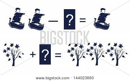 Educational game for children. Cartoon illustration of mathematical addition and subtraction. Examples with cute silhouettes of ships and trees.