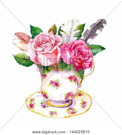 Boho chic tea cup design with rose flowers and vintage feathers. Hippy watercolor for tea time