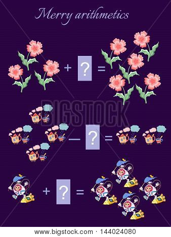 Educational game for children.Cartoon illustration of mathematical addition and subtraction. Examples with cute colorful flowers, teapots, cups and monkeys astronauts.