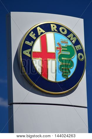 CIRCA AUGUST 2016 - GDYNIA: Emblem of Alfa Romeo. Alfa Romeo Automobiles S.p.A. is Italian car manufacturer. It was founded as A.L.F.A. ( Anonymous Lombard Automobile Factory) in 1910 in Milan, Italy. Alfa Romeo has been involved in car racing since 1911.