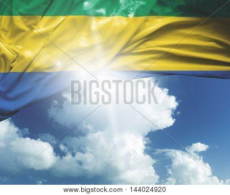 Gabon flag on a beautiful day