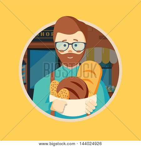 Hipster baker with beard holding basket with bakery products. Baker standing in front of bakery. Baker with bowl full of bread. Vector flat design illustration in the circle isolated on background.