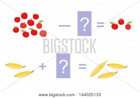 Educational game for children. Cartoon illustration of mathematical addition and subtraction. Vector image. Examples with cute colorful apples and bananas.