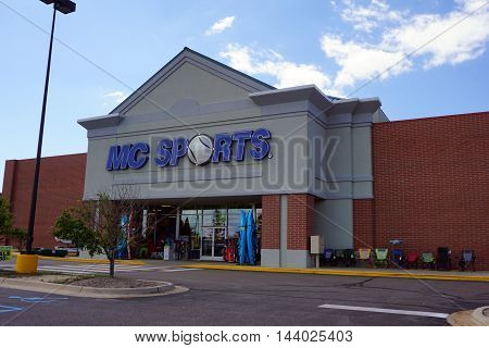 PETOSKEY, MICHIGAN / UNITED STATES - AUGUST 1, 2016: The MC Sports store sells sporting goods and supplies in Petoskey's Bear Creek Plaza.
