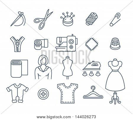 Sewing icons flat thin line vector set. Outline tools and accessories for tailoring and needlework. Linear handmade clothes atelier symbols. Dressmaker instruments kit. Seamstress with work equipment
