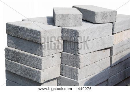 Modern Building Site Gray Concrete Breeze Blocks.