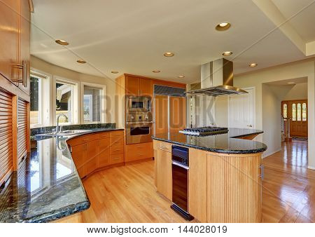 Modern Style Kitchen Interior With Large Kitchen Island