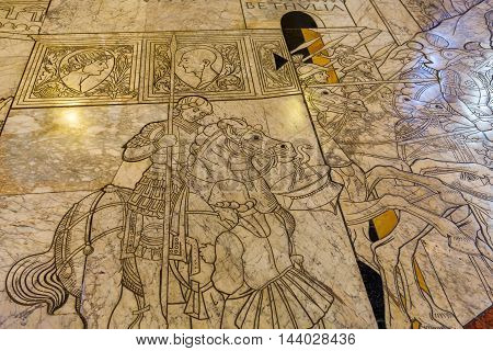 Historic Floor Mosaic In The Siena Cathedral
