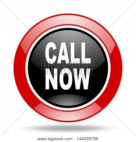 call now round glossy red and black web icon