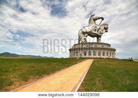 Ulaanbaatar Mongolia July 3 ,2016 : Genghis Khan Statue Complex is a 40-metre tall statue of Genghis Khan on horseback, at Tsonjin Boldogeast of the Mongolian capital Ulaanbaatar
