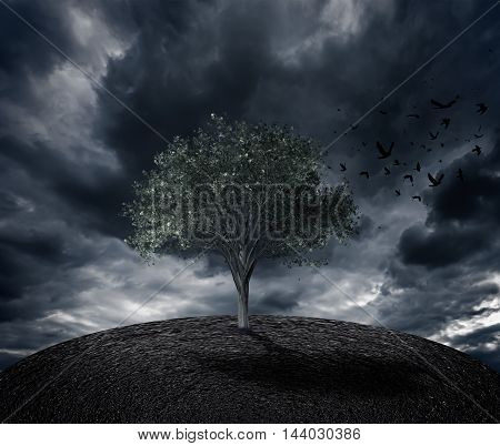 render of a tree with flying birds in a dark mood loneliness