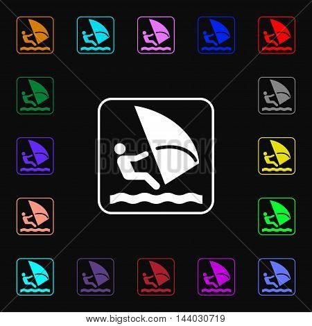 Windsurfing Icon Sign. Lots Of Colorful Symbols For Your Design. Vector