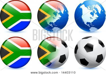 South Africa Flag Button with Global Soccer Event Original Illustration