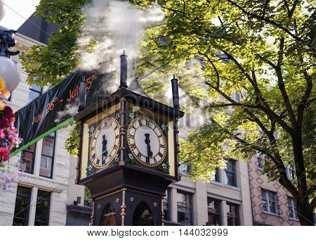 Steam clock of Gastown National historic site located in Vancouver British Columbia