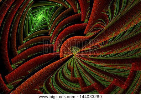 Colorful Abstract with selective focus, dramatic shadows and zig zag pattern