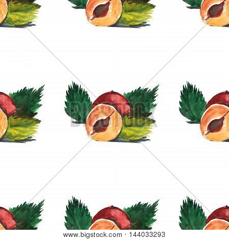 Watercolor seamless pattern witn hazelnut Hand drawn picture