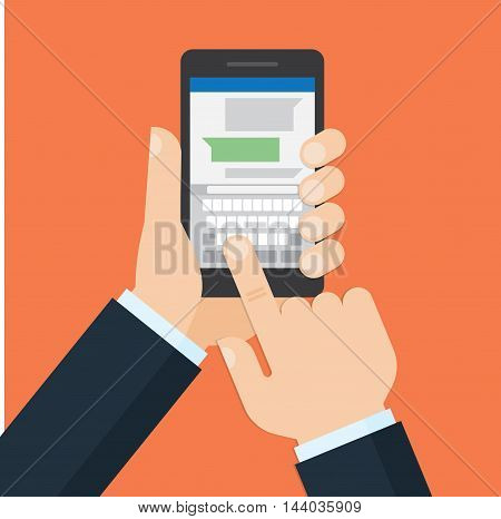 close up of male hands holding smartphone and pointing finger to on screen is typing chatting sms