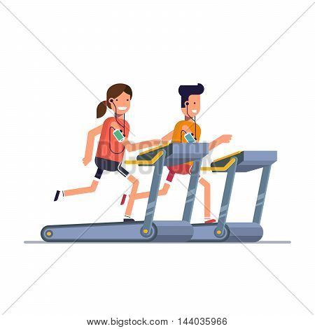 The guy with the girl goes in for sports on a treadmill while listening to music through the phone. People running in the gym. Man strengthens health exercise