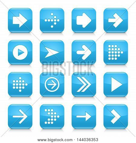 16 arrow icon set 01. White sign on blue rounded square button with gray reflection black shadow on white background. Glossy style. Vector illustration web design element save in 8 eps