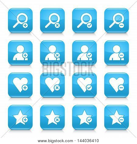 16 additional icon set 07. White sign on blue rounded square button with gray reflection black shadow on white background. Glossy style. Vector illustration web design element in 8 eps